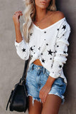 Luluautumn V-Neck Long Sleeve Star Casual T-Shirt