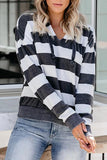 Luluautumn Loose Striped V-Neck Hoodie