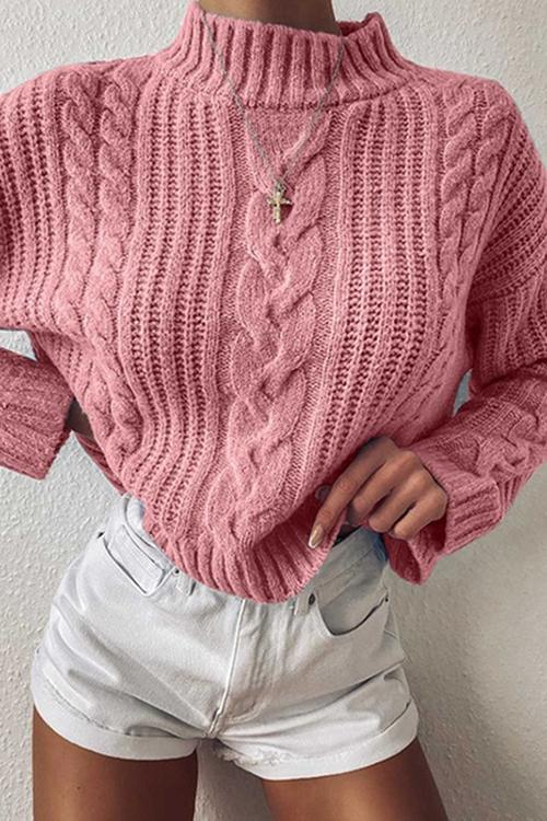 Luluautumn Casual Round Neck Cable Loose Sweater