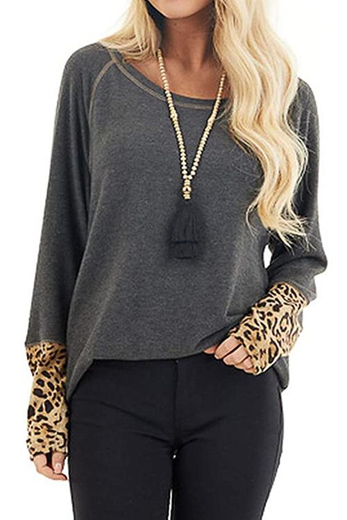 Luluautumn Leopard Print Stitching T-Shirt With Cuffs