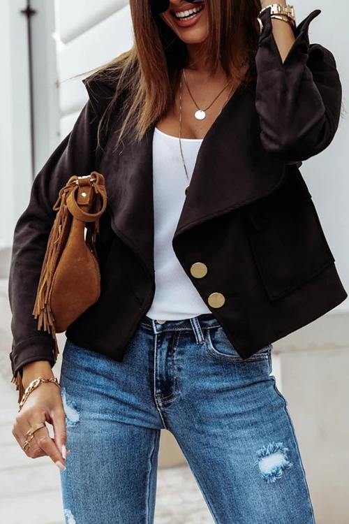 Luluautumn Lapel  Suede Button Jacket