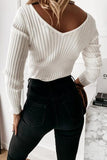 Luluautumn Long Sleeve V-Neck Pit Strip Top