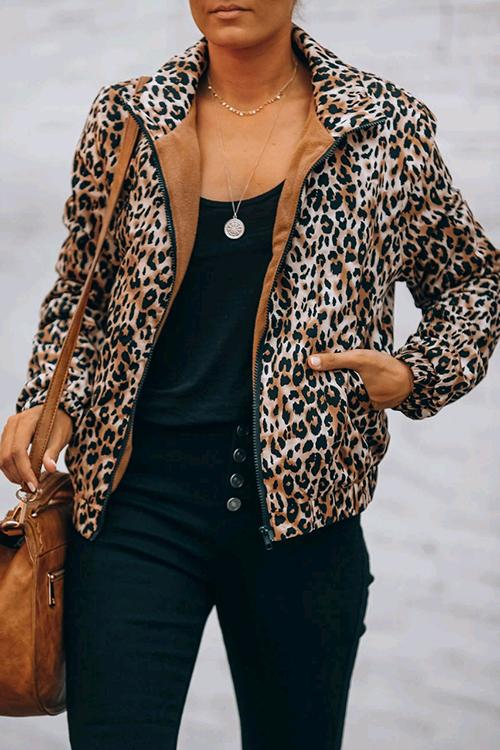 Luluautumn Leopard Zipped Pocket Jacket