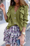 Luluautumn Green Ruffled V-Neck Button Sweater