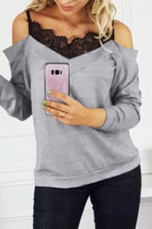 Luluautumn Off-The-Shoulder Sling Lace Stitching Sweater