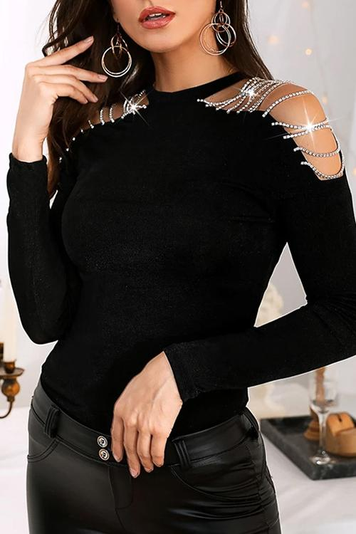 Luluautumn Hollow Rhinestone Stitching Long Sleeve T-Shirt