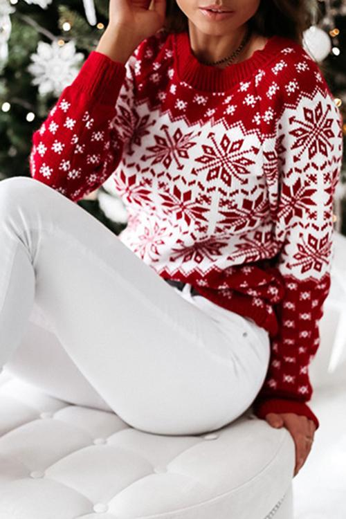 Luluautumn Christmas Snowflake Long Sleeve Knitted Sweater