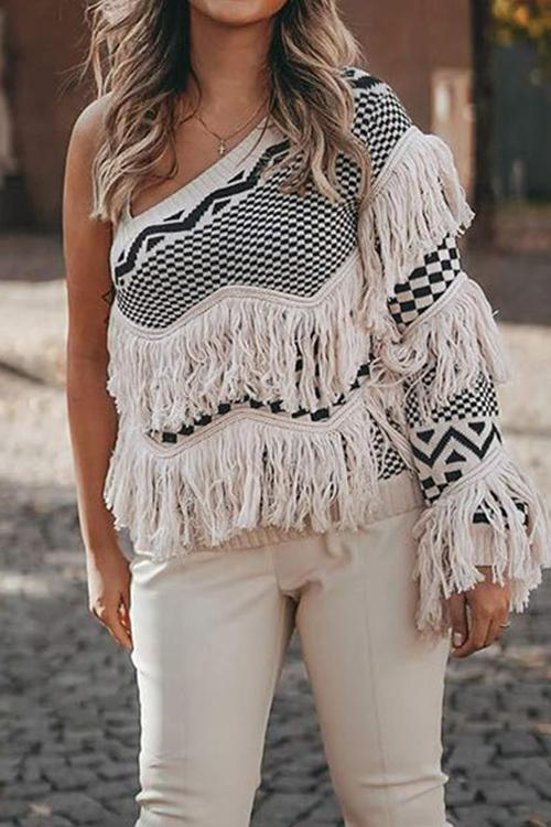 Luluautumn Oblique Shoulder Fringed Long Sleeve Sweater