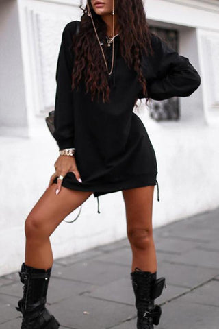 Luluautumn Letter Strap Hooded Long Sweatshirt