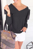 Luluautumn V-Neck Cold Shoulder Cross Sweatshirt
