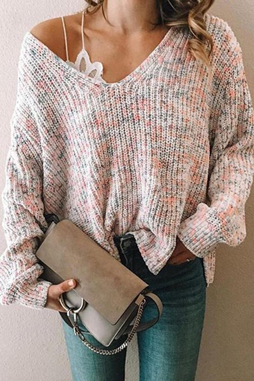 Luluautumn Multicolor Casual V-Neck Sweater