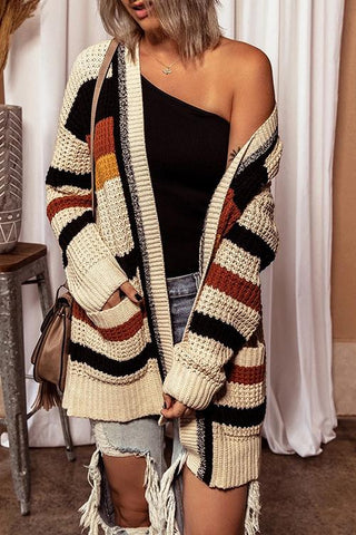 Luluautumn Striped Contrast Pocket Knit Cardigan