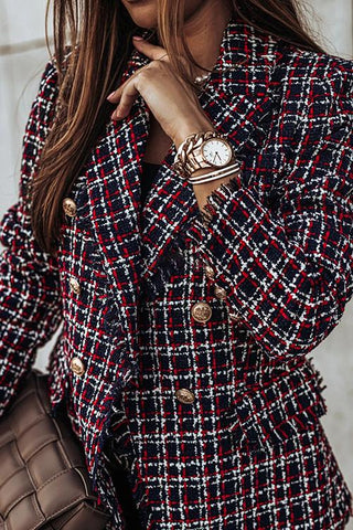 Luluautumn Fashion Plaid Single Breasted Blazer