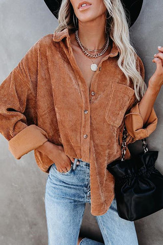 Luluautumn Corduroy Button Down Pocket Top