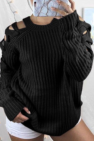 Luluautumn Shoulder Cutout Long Sleeve Sweater