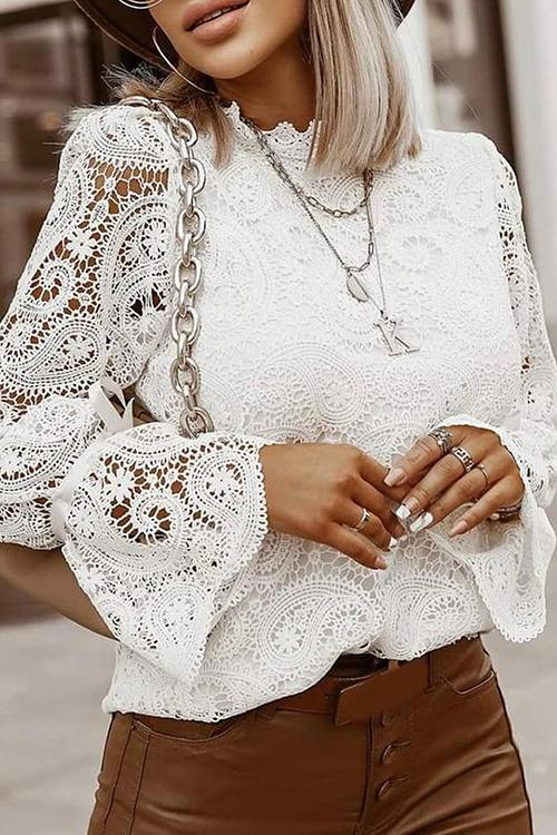 Luluautumn Stand-Up Collar Long-Sleeved Lace Blouse