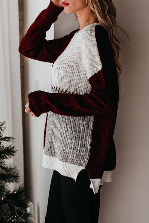 Luluautumn Contrasting Round Neck Loose Sweater