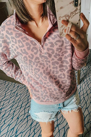 Luluautumn Stand-Up Collar Zipper Leopard Sweatshirt