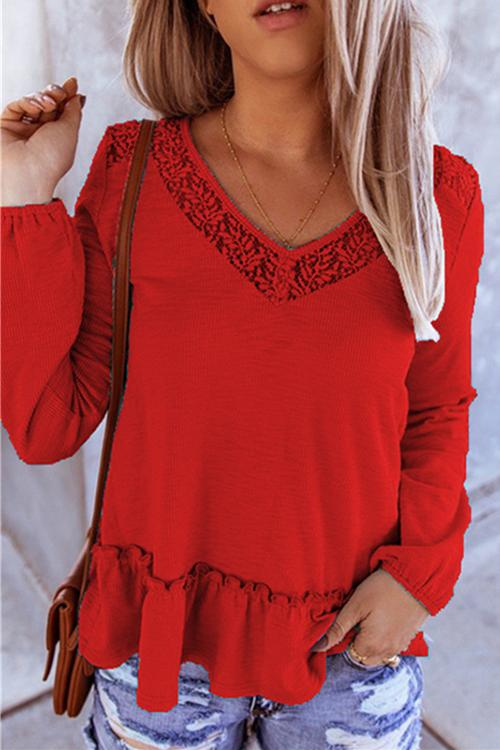 Luluautumn Lace Panel Long-Sleeved Knitted T-Shirt