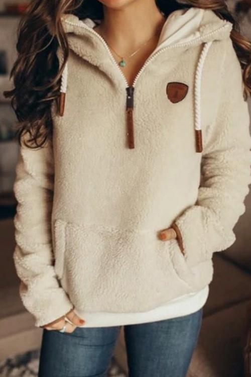 Luluautumn Zipper Pocket Plush Hoodie