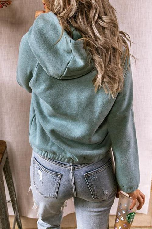 Luluautumn Solid Color Buttoned Hoodie