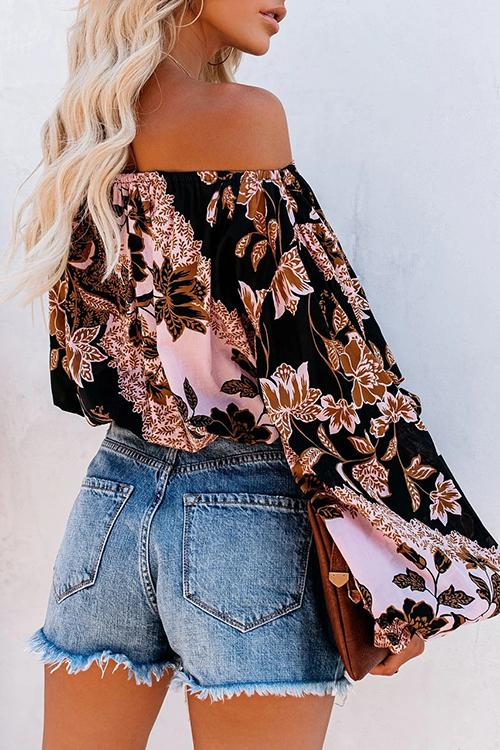Luluautumn Plant Print Off Shoulder Puff Sleeve Blouse