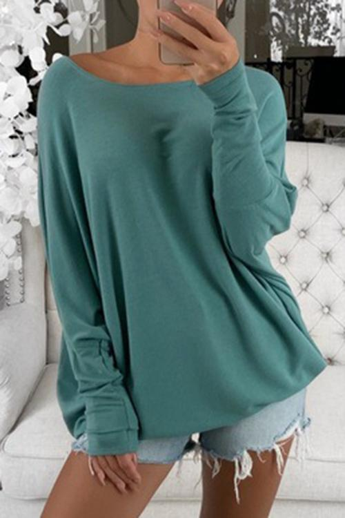 Luluautumn One Shoulder Long Sleeve T-Shirt (Six Colors)