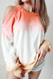 Luluautumn Off-The-Shoulder Gradient Long-Sleeved T-Shirt