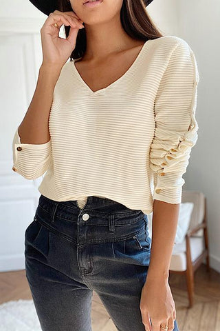 Luluautumn V-Neck Button Sleeved Knitted T-Shirt