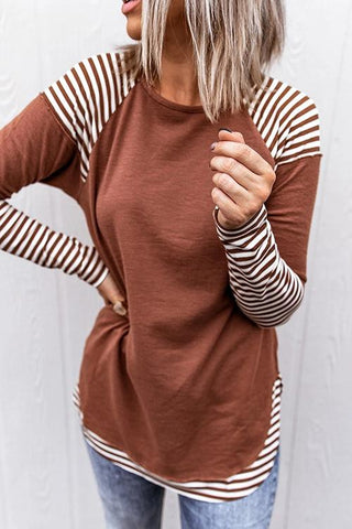 Luluautumn Casual Round Neck Striped Long Sleeve T-Shirt
