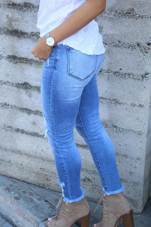 Luluautumn Buttoned Ripped High Rise Jeans