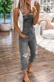 Luluautumn Casual Plain Denim Ripped Jumpsuit