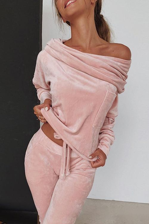 Luluautumn Solid Color Off Shoulder Velvet Suit