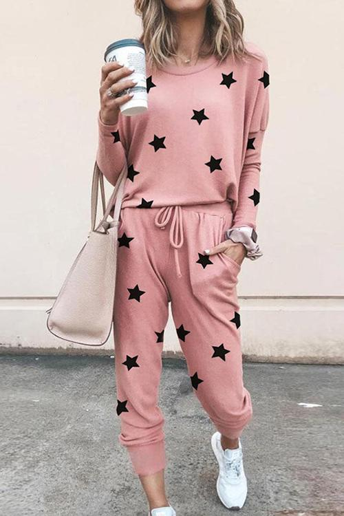 Luluautumn Five-Pointed Star Printed Casual Suit
