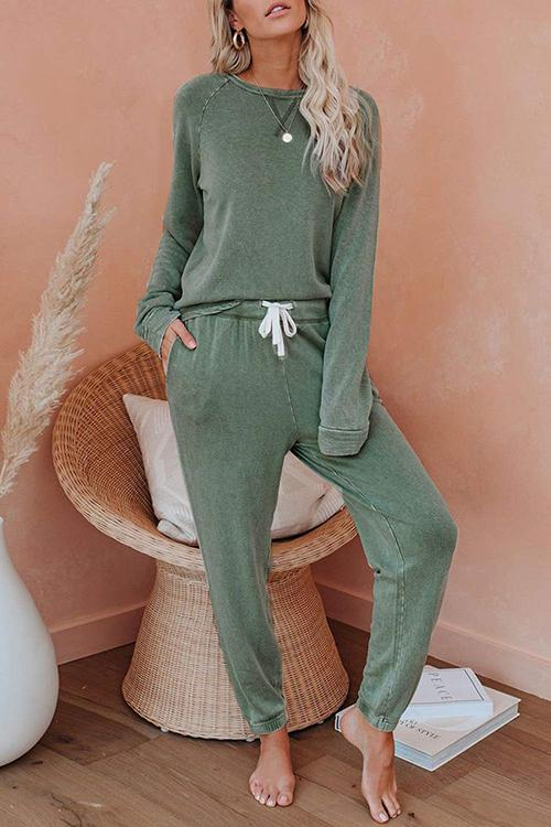 Luluautumn Solid Color Long Sleeve Casual Suit
