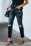 Luluautumn Black Ripped Knee Jeans