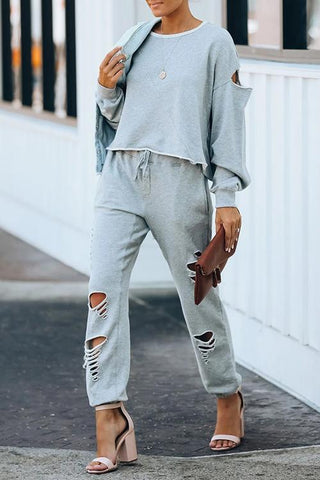 Luluautumn Ripped Loose Casual Long Sleeve Two-Piece Suit
