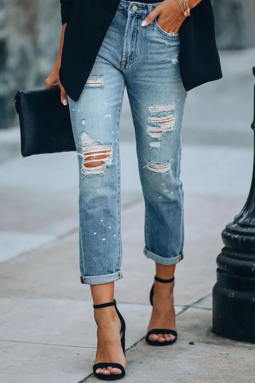 Luluautumn Blue Ripped Casual Jeans