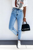 Luluautumn Basic All-Match Blue Slim Jeans