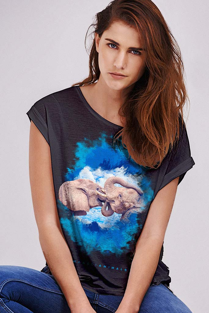 Women's T-Shirt Featuring Elephant's Kiss named 'Brain Likes Cookies'