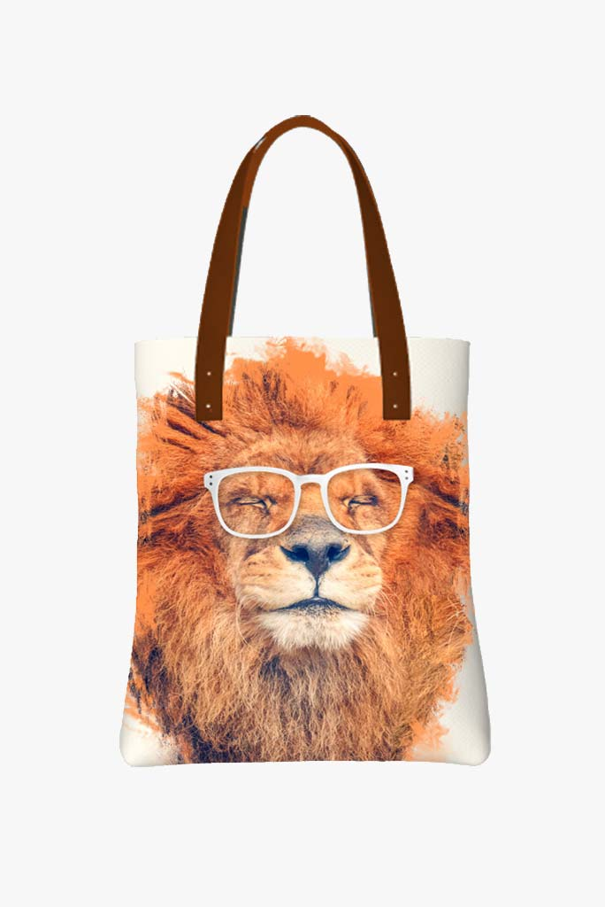 Tote Bag Featuring Happy Lion