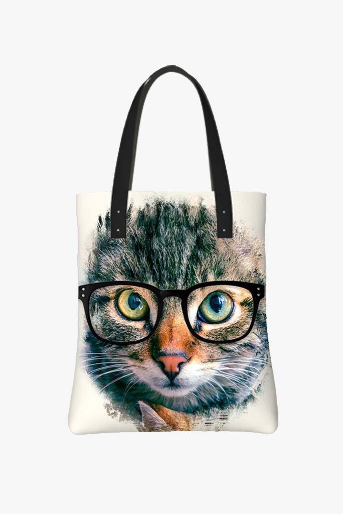 Tote Bag Featuring Smart Kitty