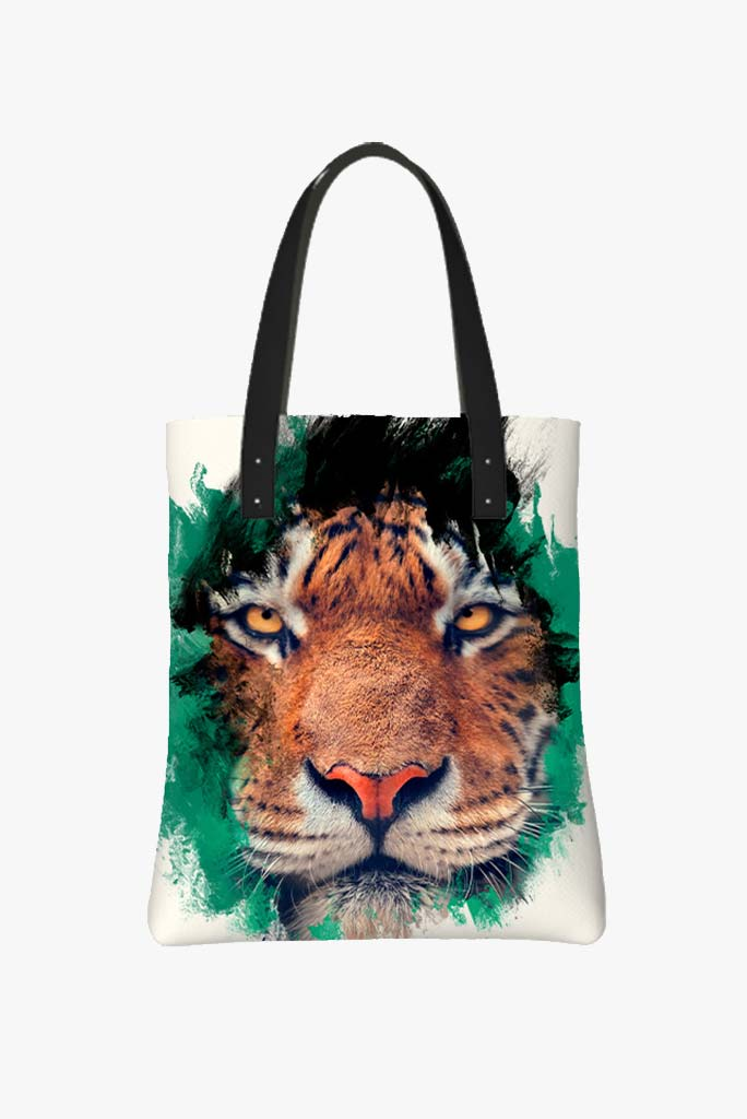 Tote Bag Featuring Determined Tiger