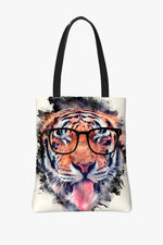 Tote bag Featuring a Tiger Licking and Sticking Out His Tongue