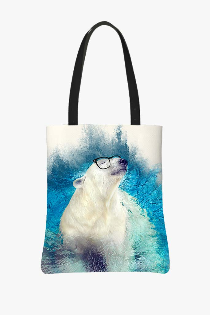 Tote Bag Featuring Polar Bear Swimming With a Big Smile