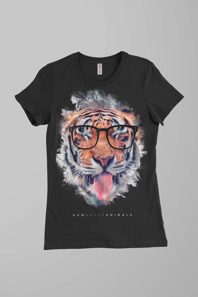 Women's Black T-Shirt Featuring a Tiger Sticking Out His Tongue named 'Humans Are Delicious'