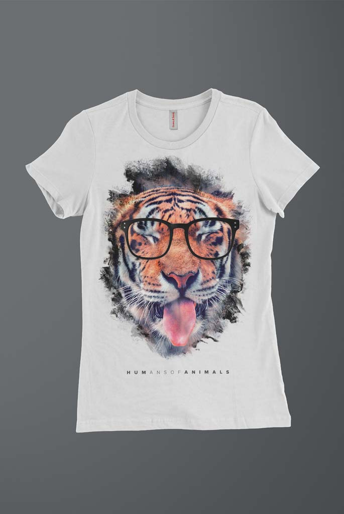 Women's White T-Shirt Featuring a Tiger Sticking Out His Tongue named 'Humans Are Delicious'