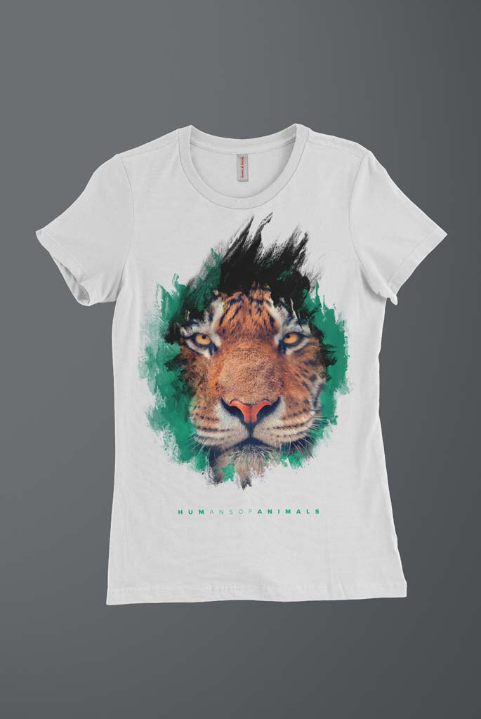 Women's T-Shirt Featuring a Fierce Tiger titled 'The Best Way to Live Is Not to Die'