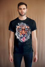 Men's T-Shirt Featuring a Tiger Sticking Out His Tongue named 'Humans Are Delicious'