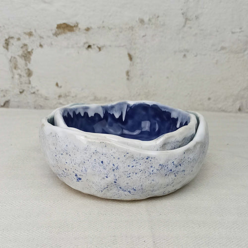 2 handmade blue bowls set serving